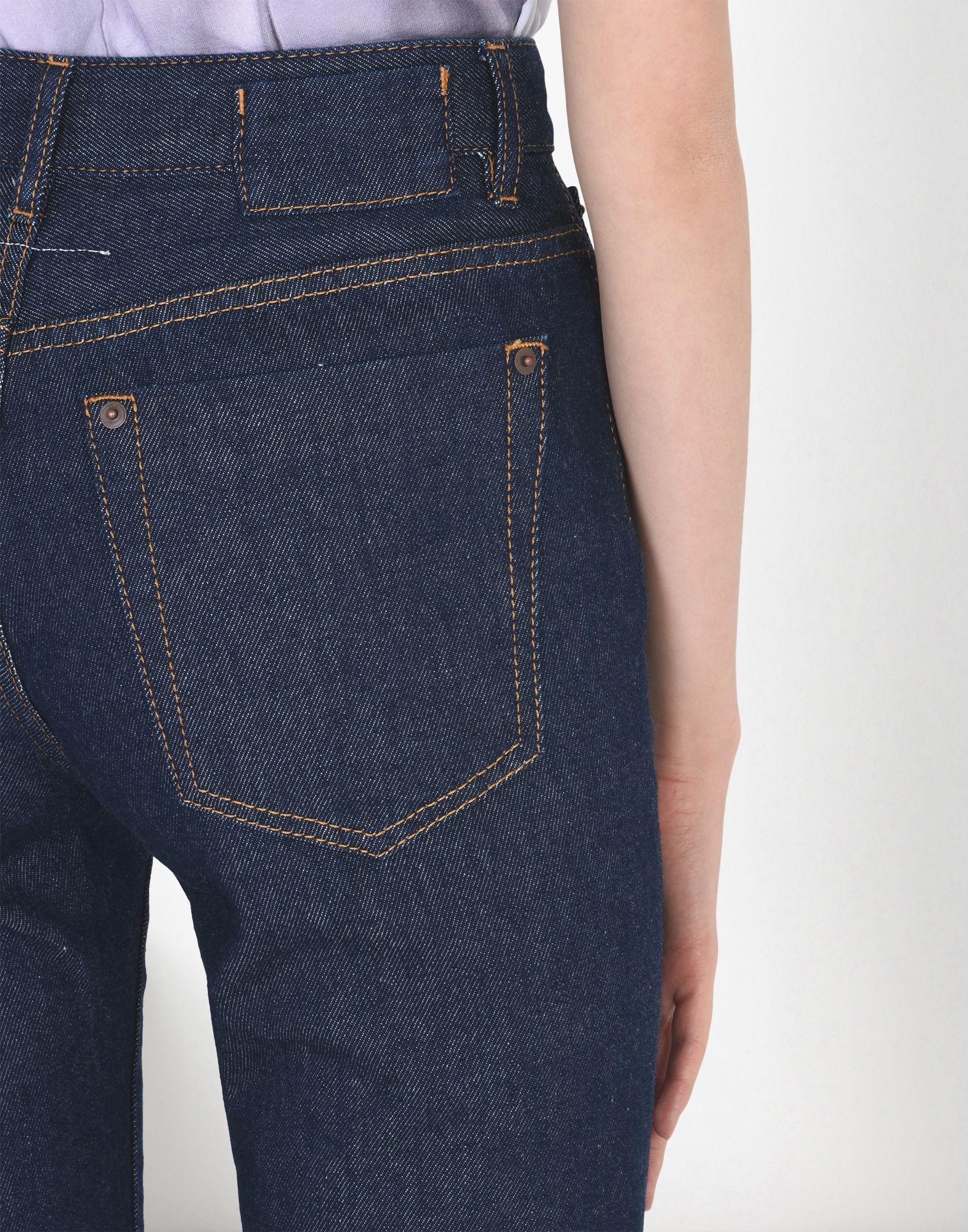 Maison Margiela Cropped Flare Raw Jeans . Raw washed cotton denim with a high-rise and raw edging  bottom hem