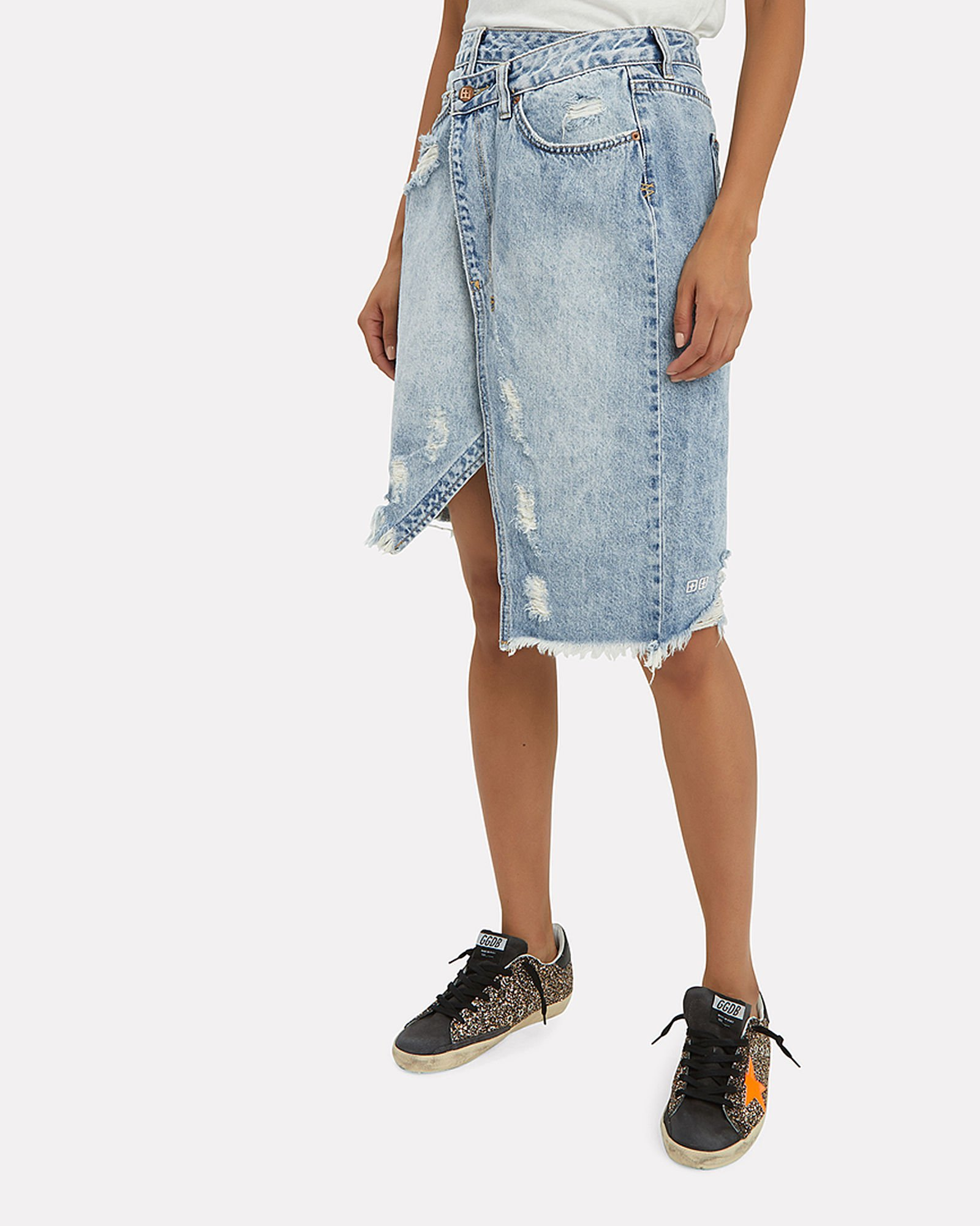 wrap skirt, wrap denim, jeans, denim skirt, white denim, ksubi, midi skirt