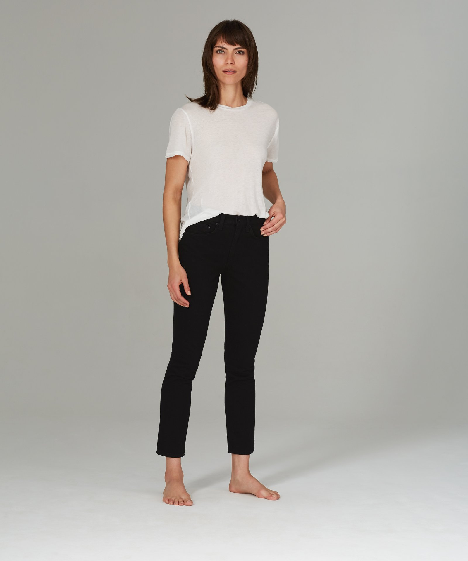 cropped jeans, skinny jeans, denim, black denim, high rise, askk ny