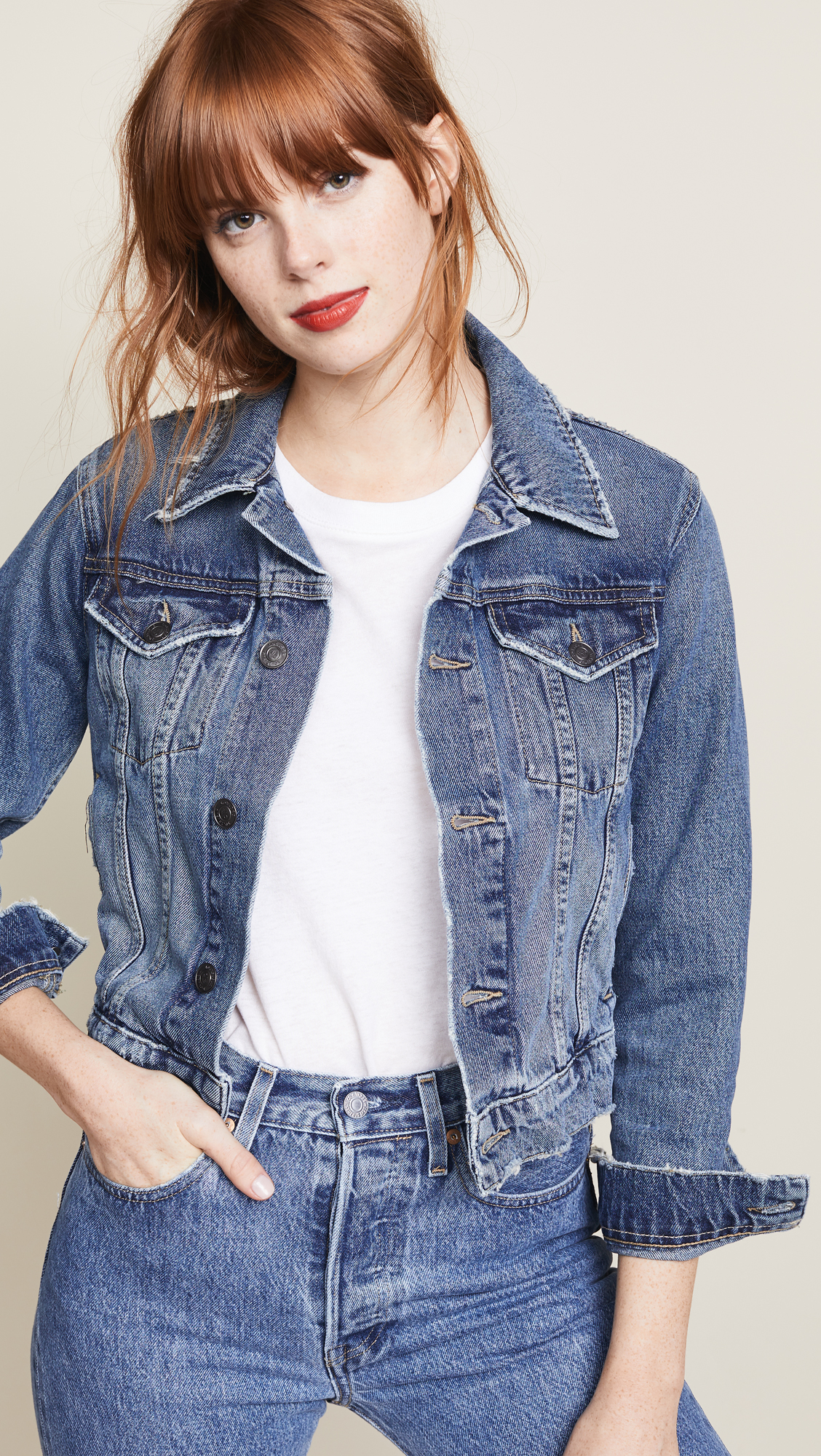 shrunken denim jacket, trucker jacket