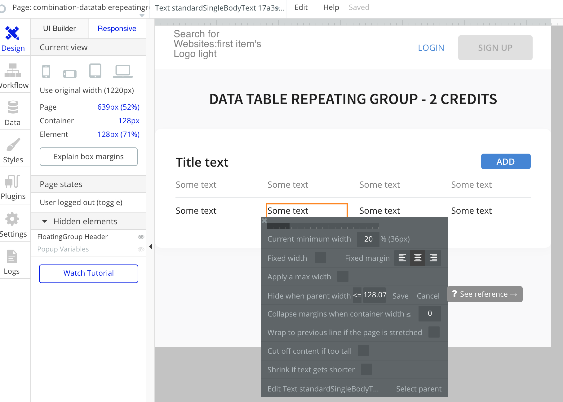 Canvas - Bubble Resources: Data table with title group (4 columns)