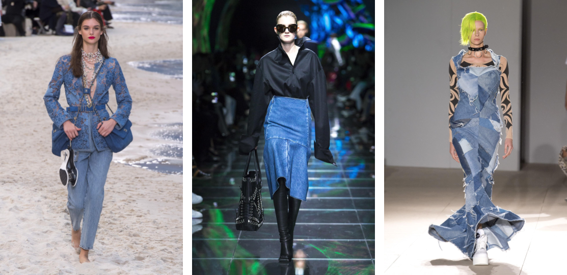 feminine denim, Paris Fashion Week, PFW Spring 2019, trends, models