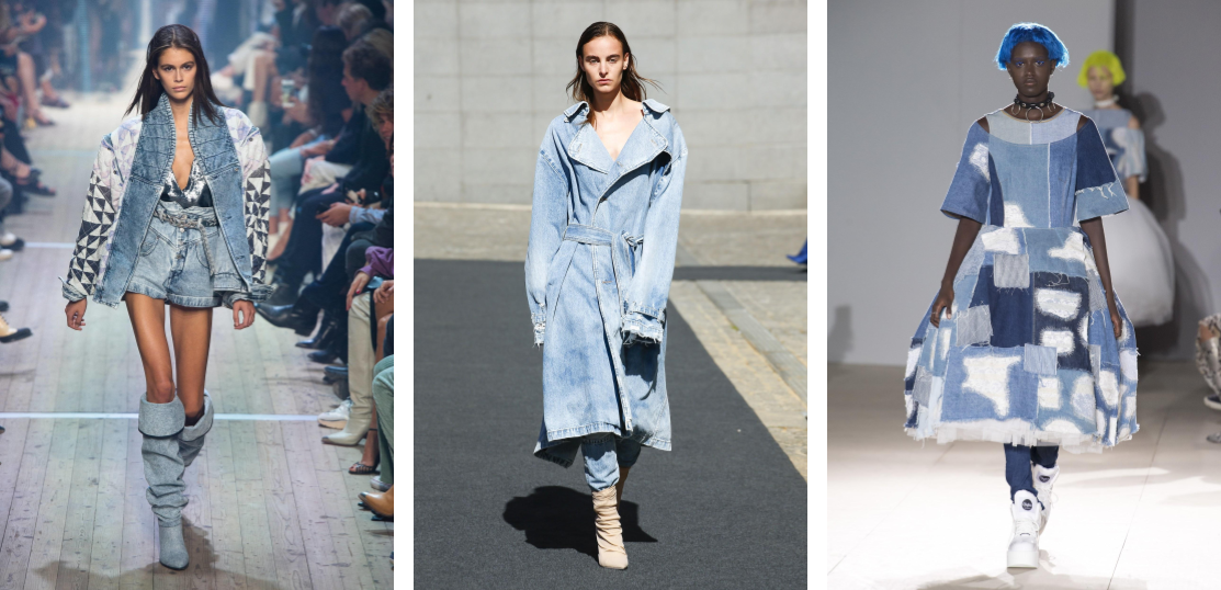 double denim, all denim looks, Paris Fashion Week, PFW Spring 2019, trends, models