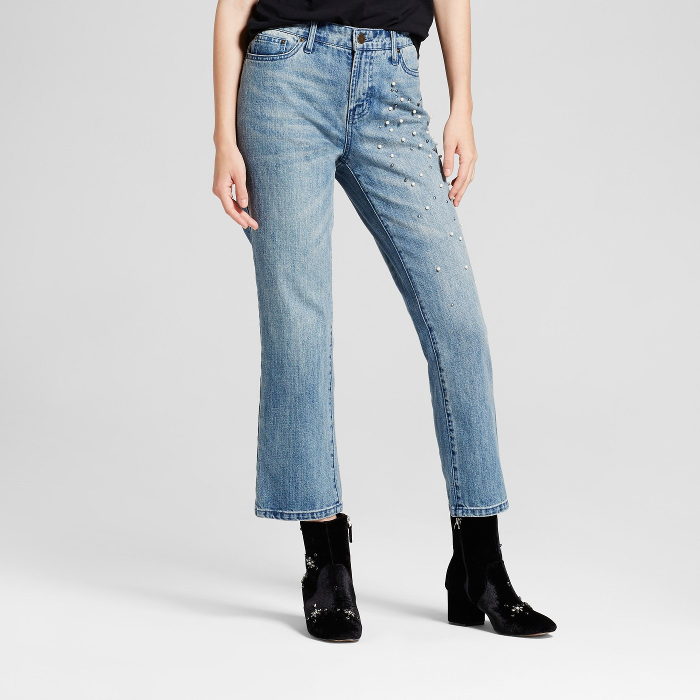 whowhatwear, embellished jeans, straight leg jeans, cropped jeans