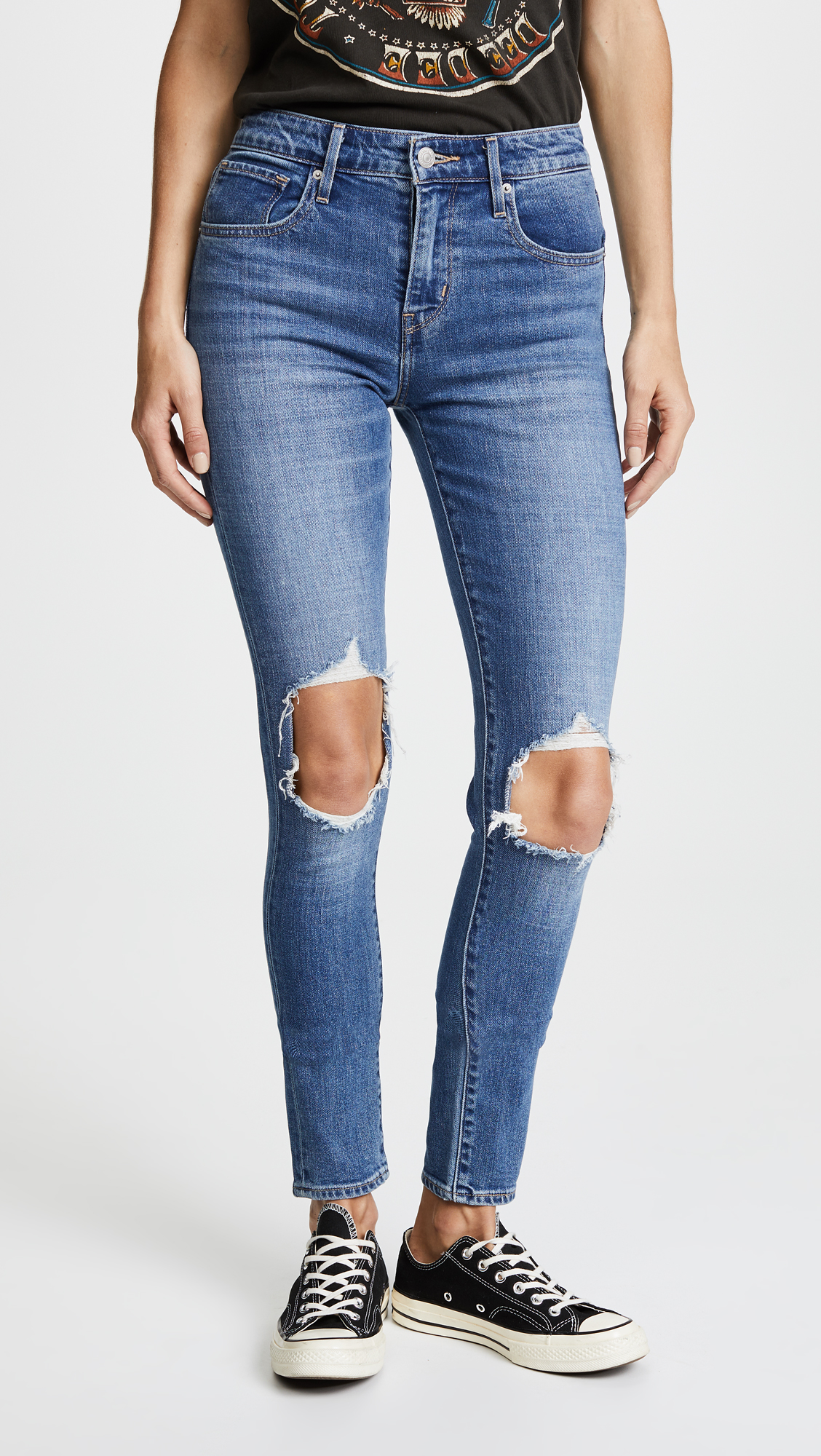 levi's, distressed denim, high rise jeans, skinny jeans