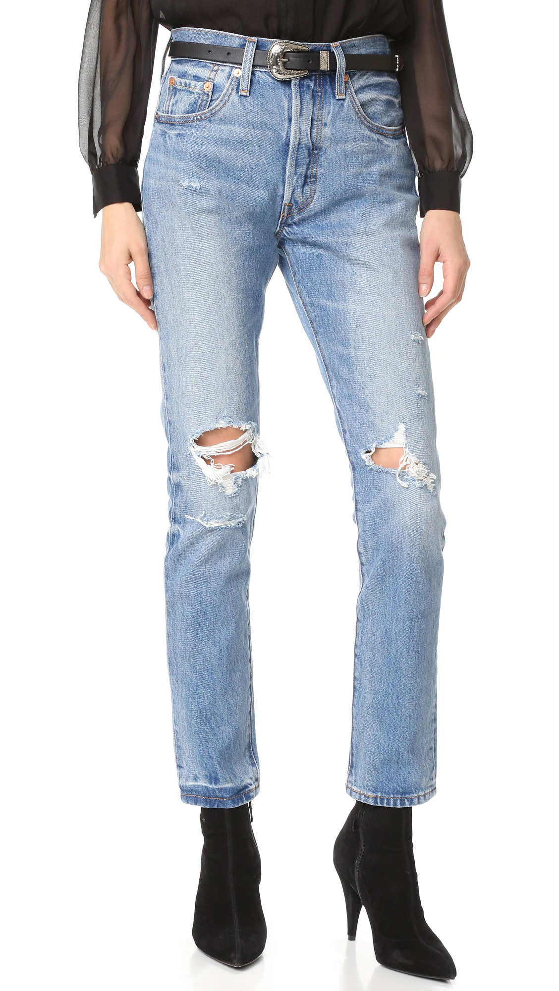 levi's, 501 skinny, distressed jeans, mom jeans, skinny straight