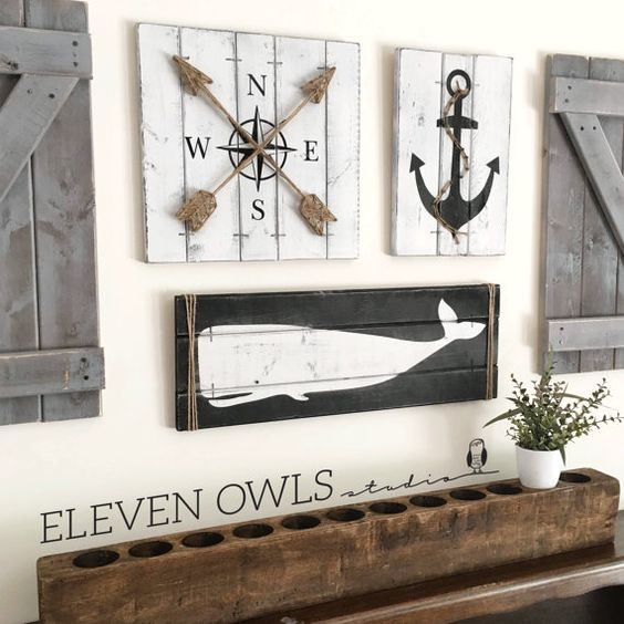 rustic decor, whale decor