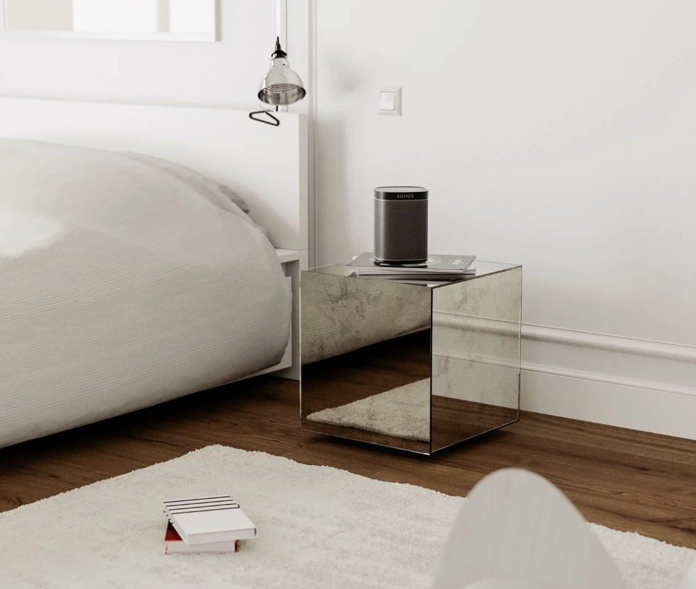 mirrored table, mirrored nightstand