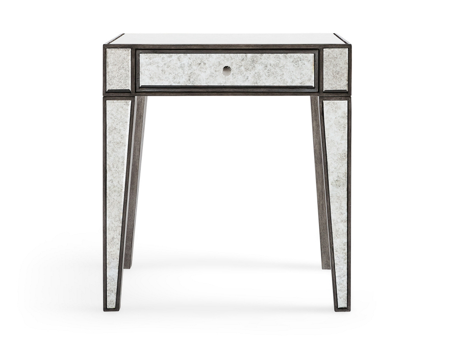 mirrored end table, antiqued end table