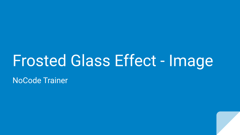 Frosted Glass Effect on Image Element
