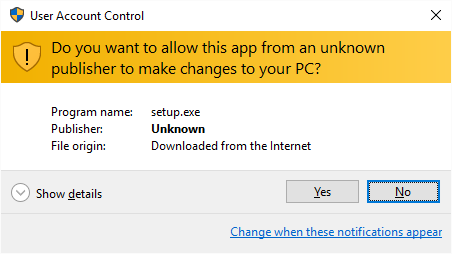 If the User Account Control window appears, click 'Yes'