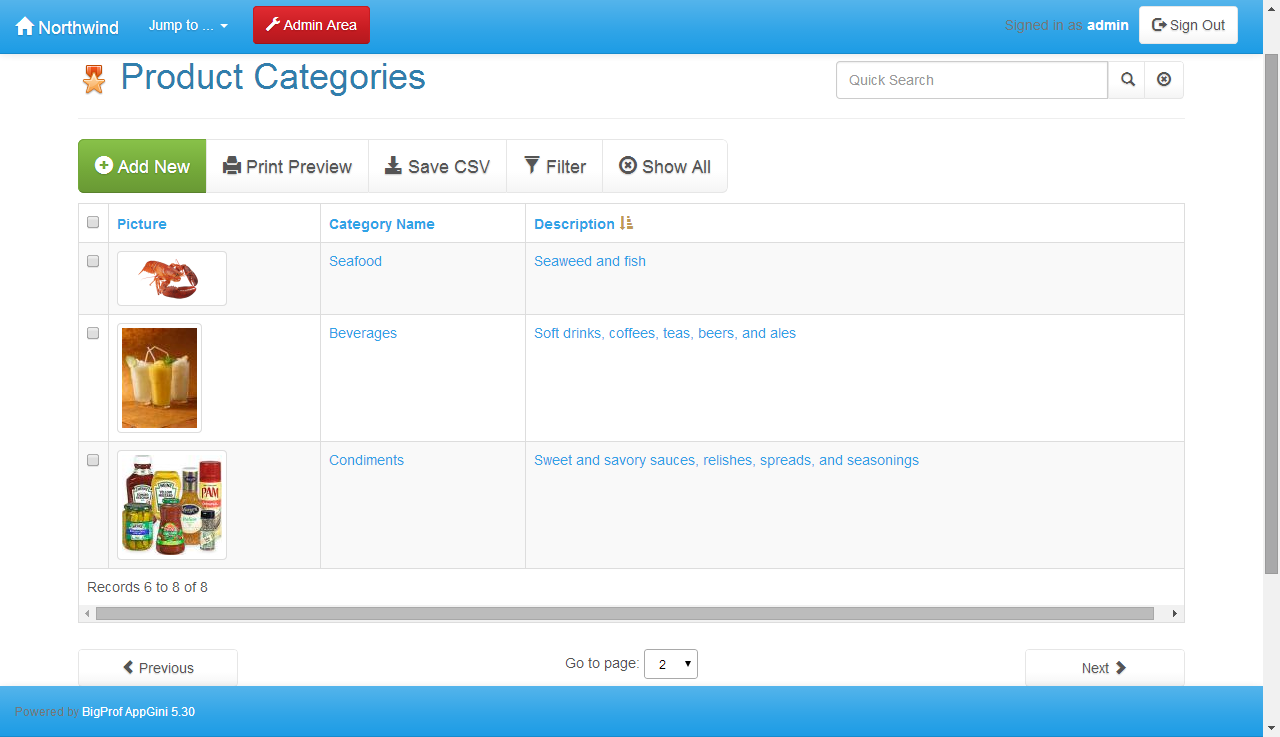 AppGini screenshot
