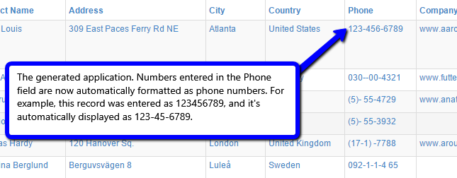 The phone number format automatically applied to data in a field