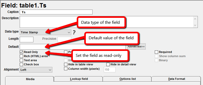 Inserting automatic values in fields - Web database applications in