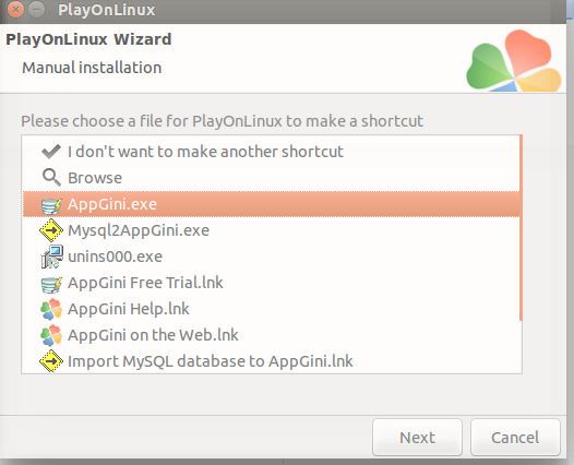 Choose shortcut file
