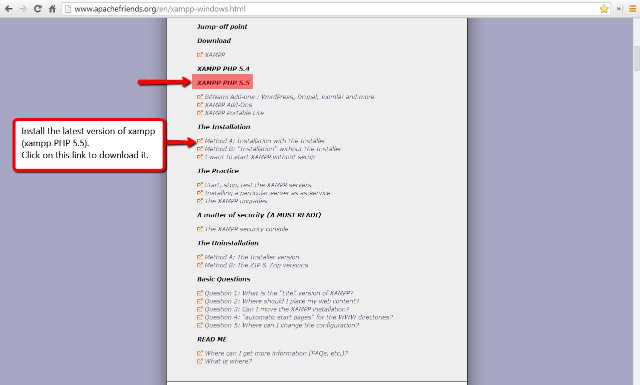 Installing a local testing environment (xampp) - Web database