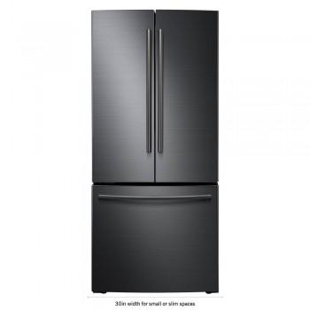 30 in. W 21.8 cu. ft. French Door Refrigerator in Black Stainless Steel