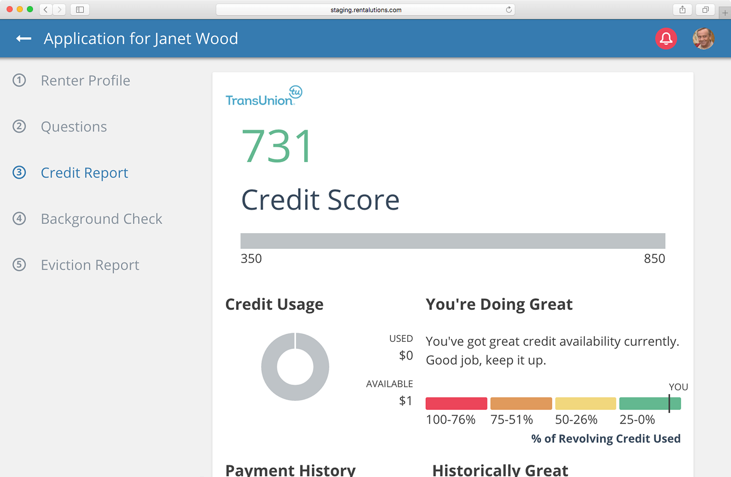 All online credit reports come from TransUnion screenshot