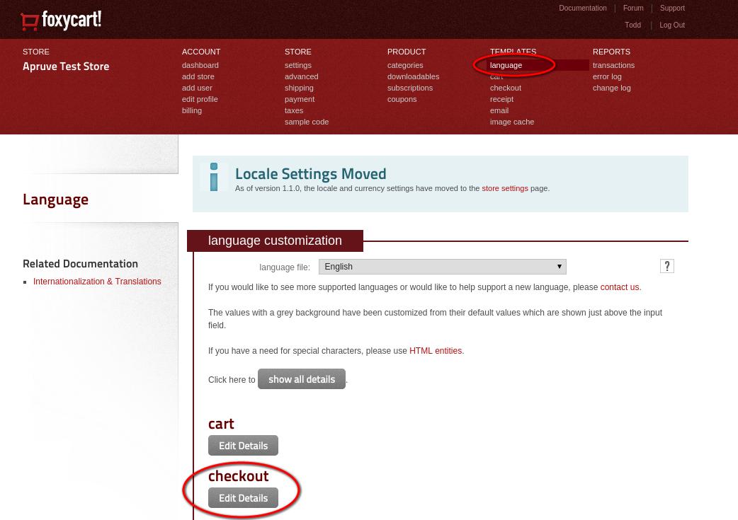 FoxyCart checkout language details