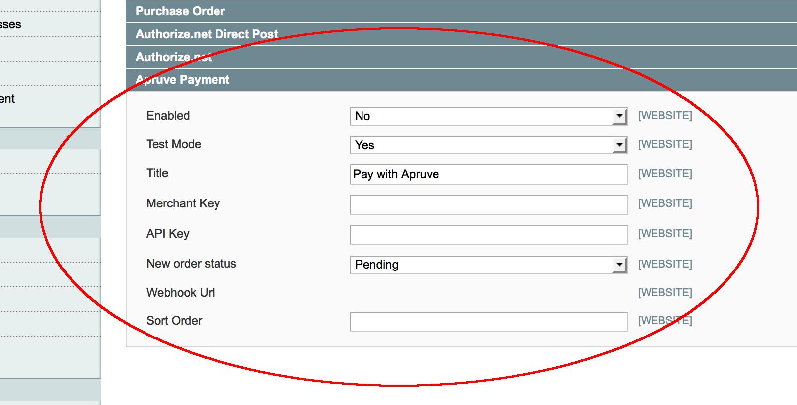 apruve payments configuration