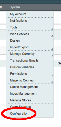 admin config menu