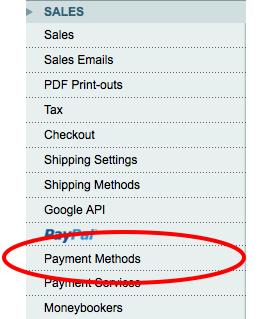 payment methods menu