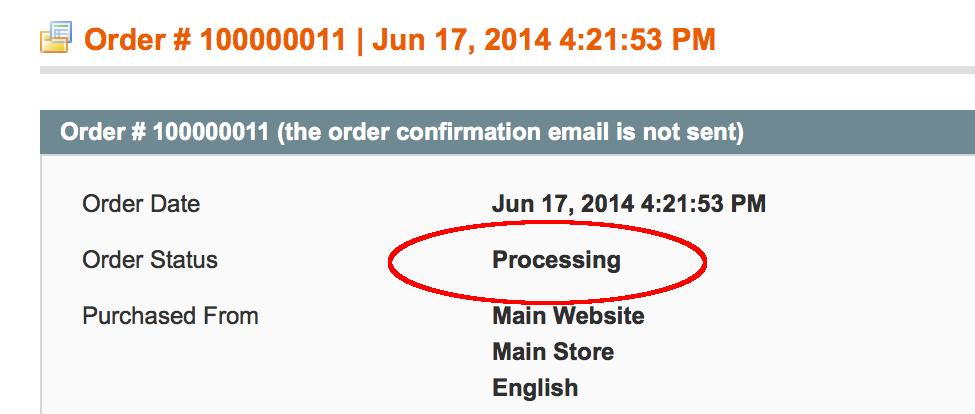 processing status