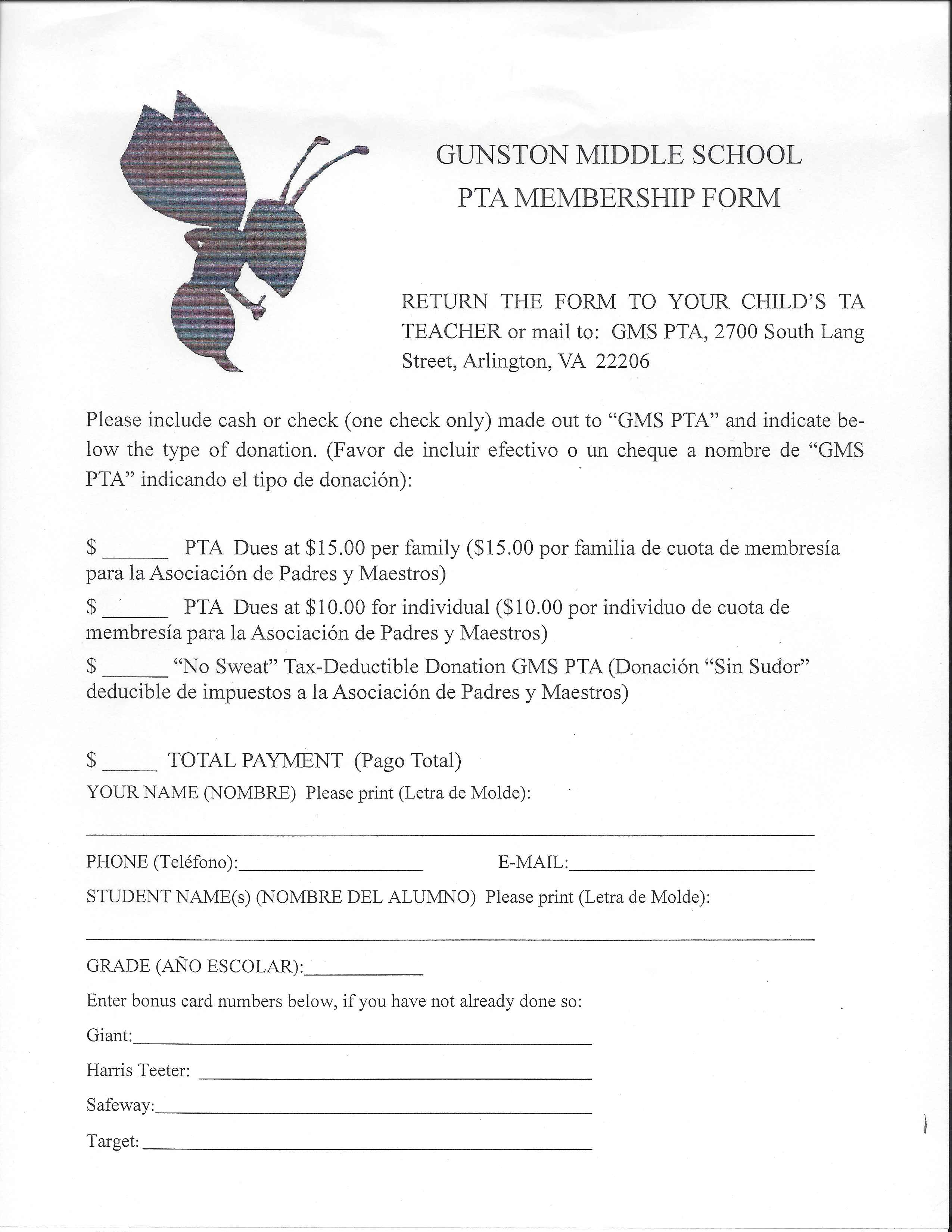 Welcome to the Gunston PTA / PTA Membership and Directory