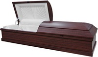 Poplar Cremation Casket with Cherry Finish