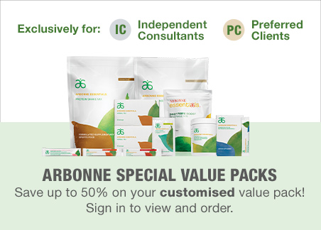Arbonne Special Value Packs. Save up to 50% on your customized value pack! Sign in to view and order.