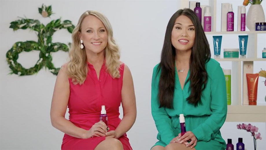 Video introducing Arbonne Pure Vibrance Hair Care Products ColorLast Hair Serum and ColorLast Hair Spray