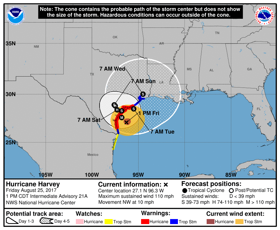 National Hurricane Center Harvey Holds Steady At Category