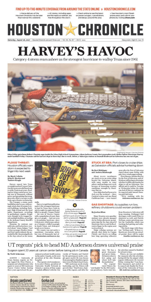 Friday Follow Along >> 'Prayers protect us': Harvey on Texas newspaper front pages - The Washington Post