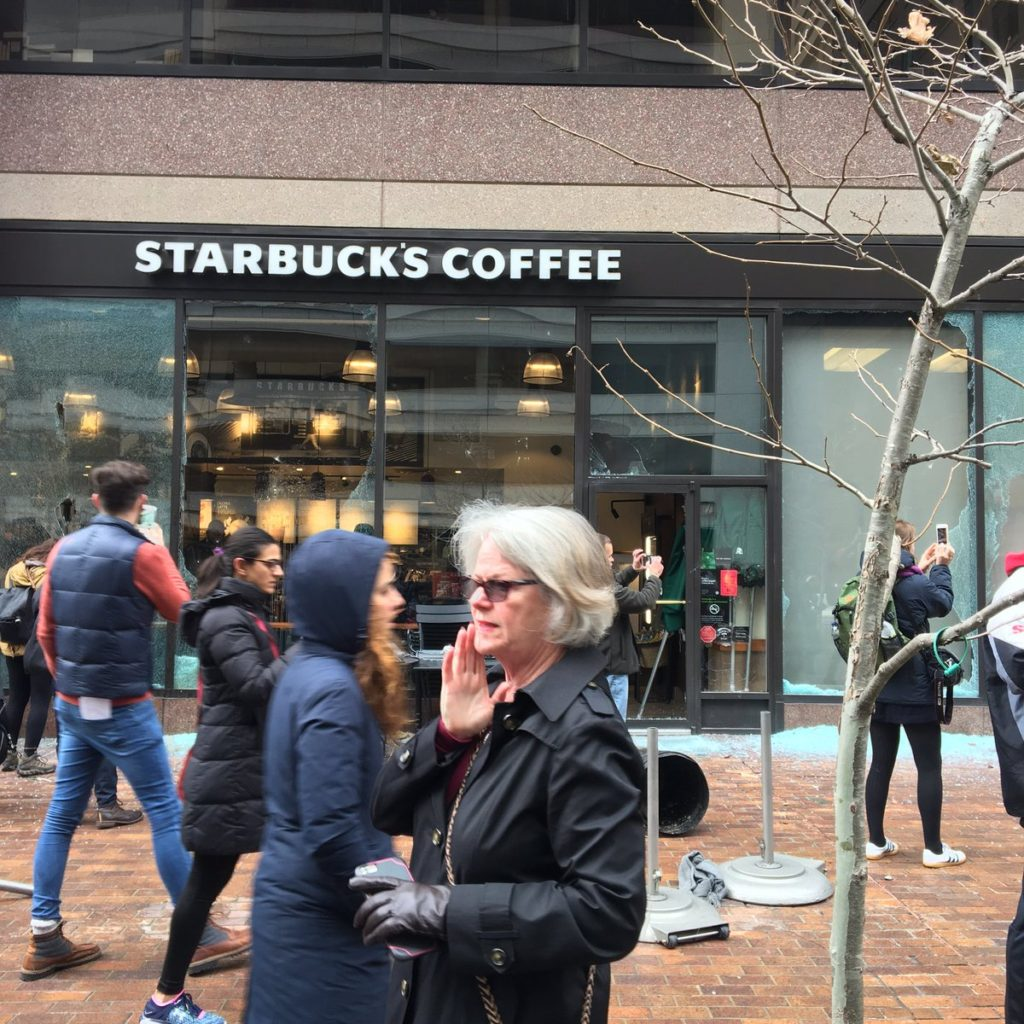 A Starbucks that was vandalized at 13th and I streets in NW D.C. as the inauguration and protests unfolded. (Byron Tau/The Washington Post)