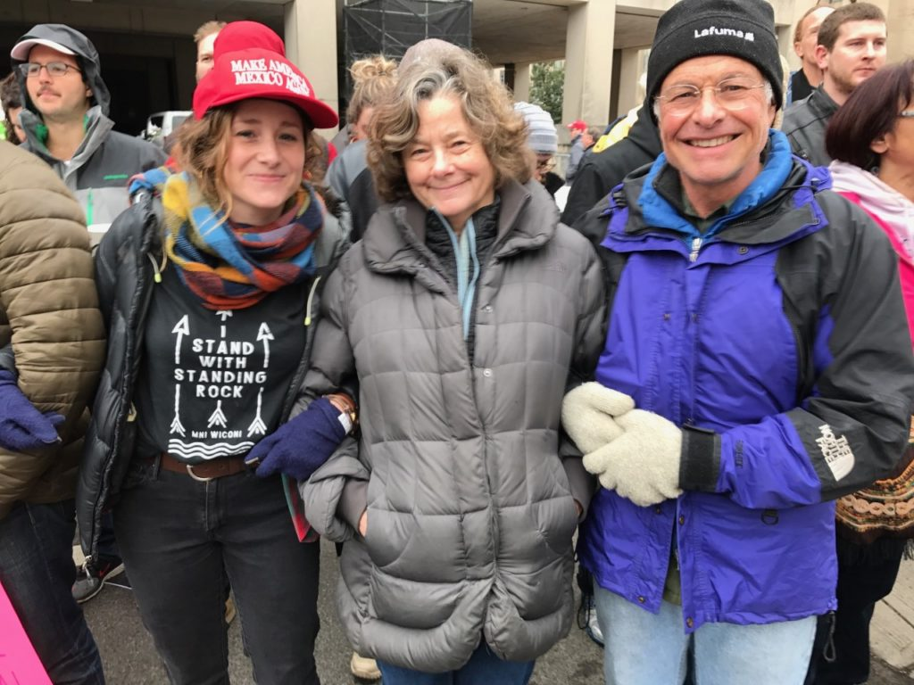 Simone Crowe, Nancy Crowe and Tom Crowe were among protesters blocking the Red Gate. (Justin Jouvenal/The Washington Post)
