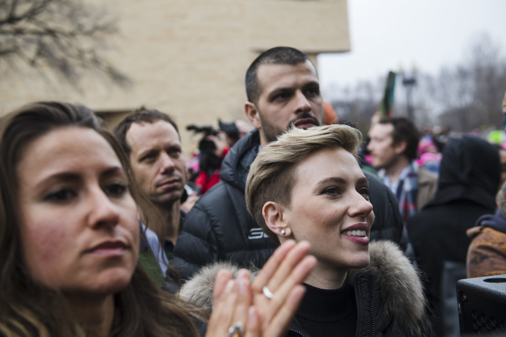 WASHINGTON, DC- JAN 21- Scarlett Johansson stands with groups during the Women's March on Washington on Saturday, Jan. 21, 2017 in Washington, D.C. (For the Washington Post: Amanda Voisard)
