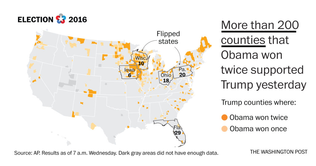 MAP The Obama Voters Who Helped Trump Win The Washington Post - Us map of trump county wins