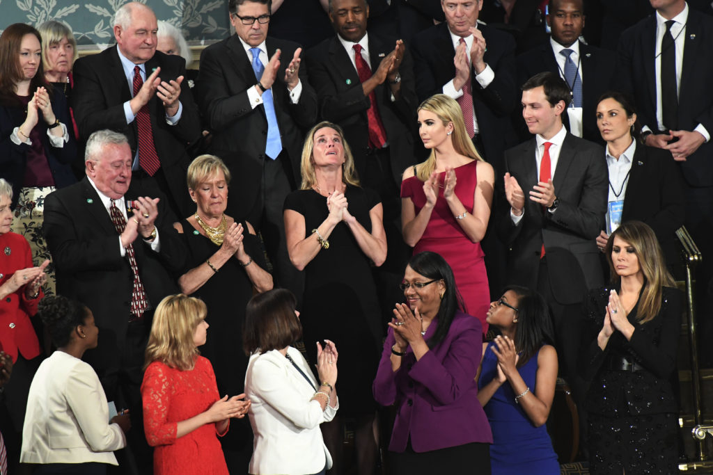 WASHINGTON, DC - FEBRUARY 28: People applaud Carryn Owens, center next to Ivanka Trump, during President Donald J. Trump's first address before a joint session of Congress on Tuesday, Feb. 28, 2017, at the US Capitol in Washington, DC. (Photo by Melina Mara /The Washington Post)