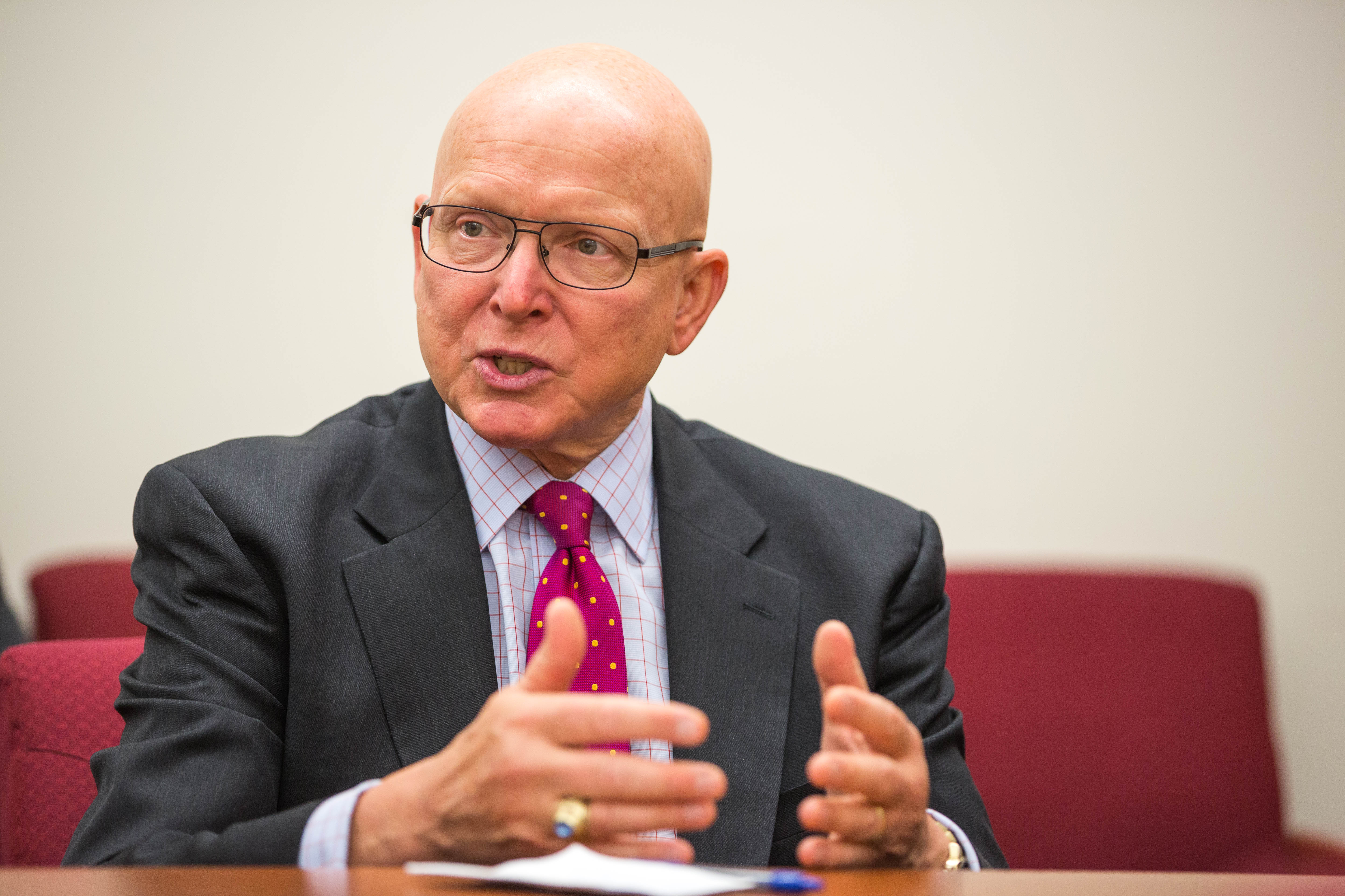 Adm. Robert Papp, U.S. Special Representative for the Arctic, speaks to reporters at Alaska Dispatch News offices on Thursday, Aug. 25, 2016. (Loren Holmes / Alaska Dispatch News)