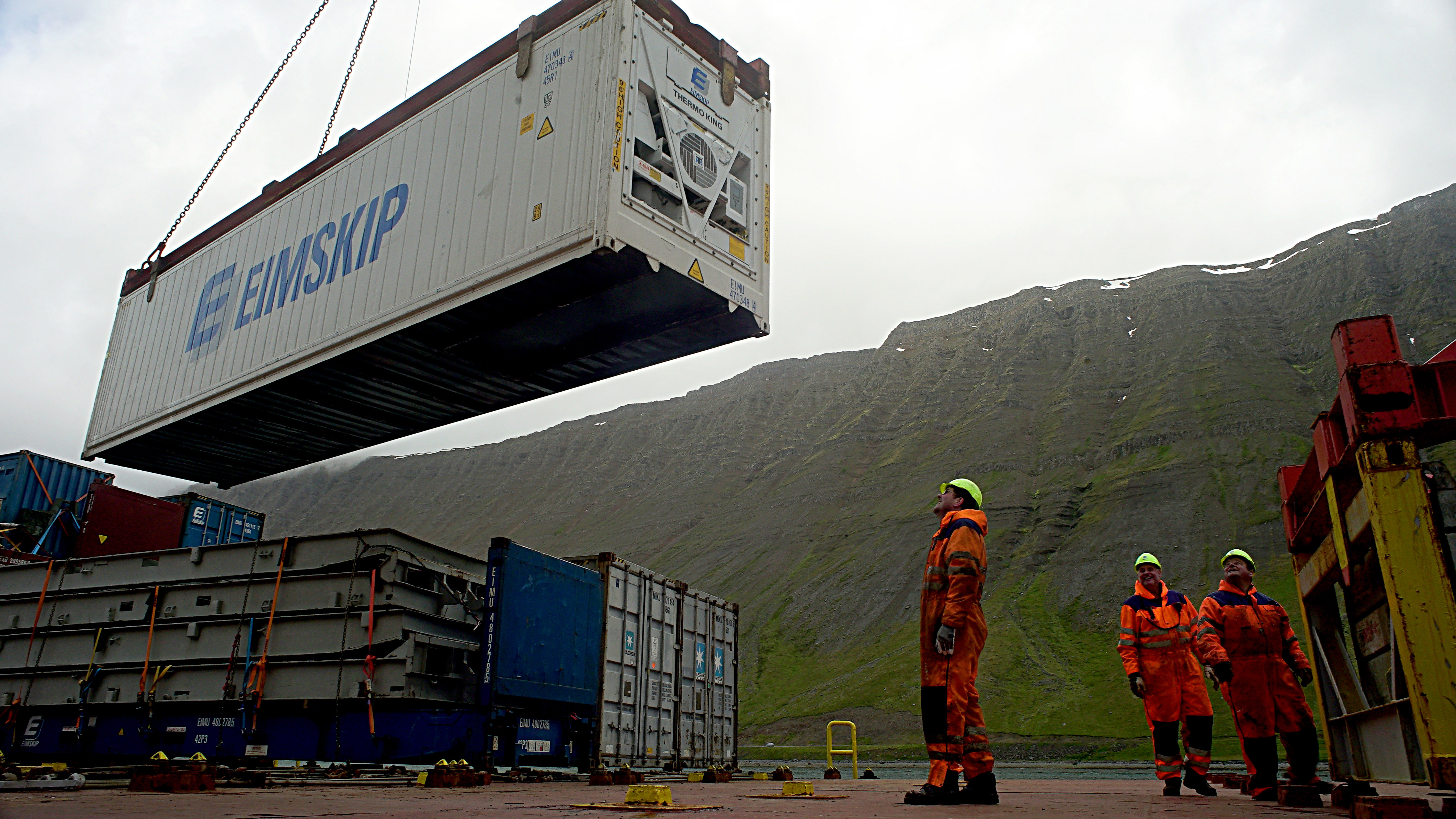 Crew members on the Eimskip vessel Bruarfoss in Isafjordur, Iceland load a refrigerated container packed with fish onto the ship. Maine's interest in the Arctic ramped up in 2013 after Eimskip decided to make Portland its logistical hub for North America. The move provided Maine businesses with access to its trade network in the North Atlantic. The niche steamship line, which specializes in moving frozen fish, gives Maine exporters and importers a direct connection to Newfoundland, Iceland, England, the Netherlands and indirect connections to Greenland, Scandinavia and as far north as Murmansk, Russia. (Tom Bell)
