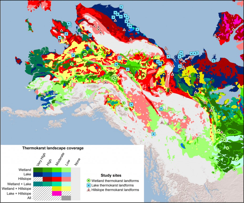 Map showing areas of Alaska and how likely they are to develop thermokarst landscapes as the climate changes. Credit: University of Alaska Fairbanks