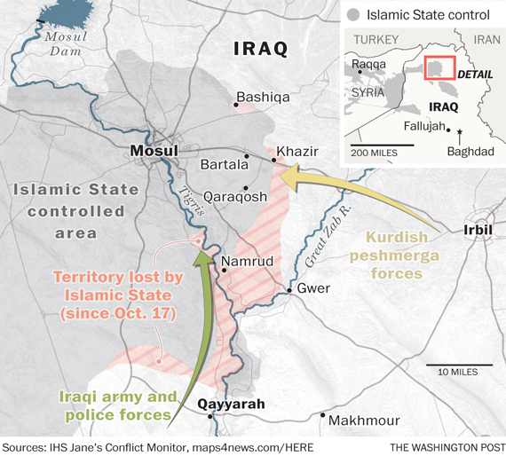 A battle map of Mosul, Iraq