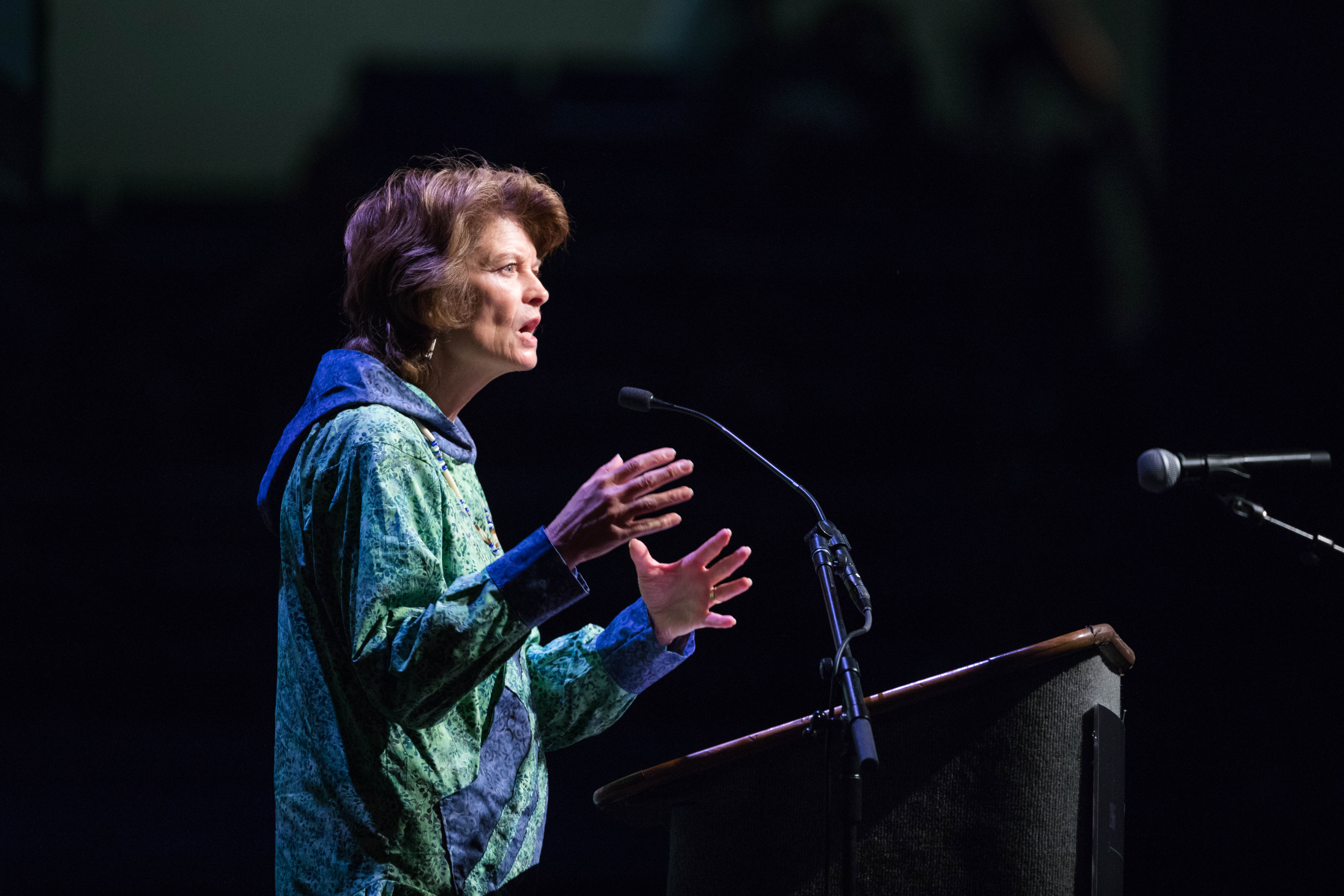 Senator Lisa Murkowski addresses delegates at the Alaska Federation of Natives convention at the Carlson Center in Fairbanks on Friday, Oct. 21, 2016. (Loren Holmes / Alaska Dispatch News)