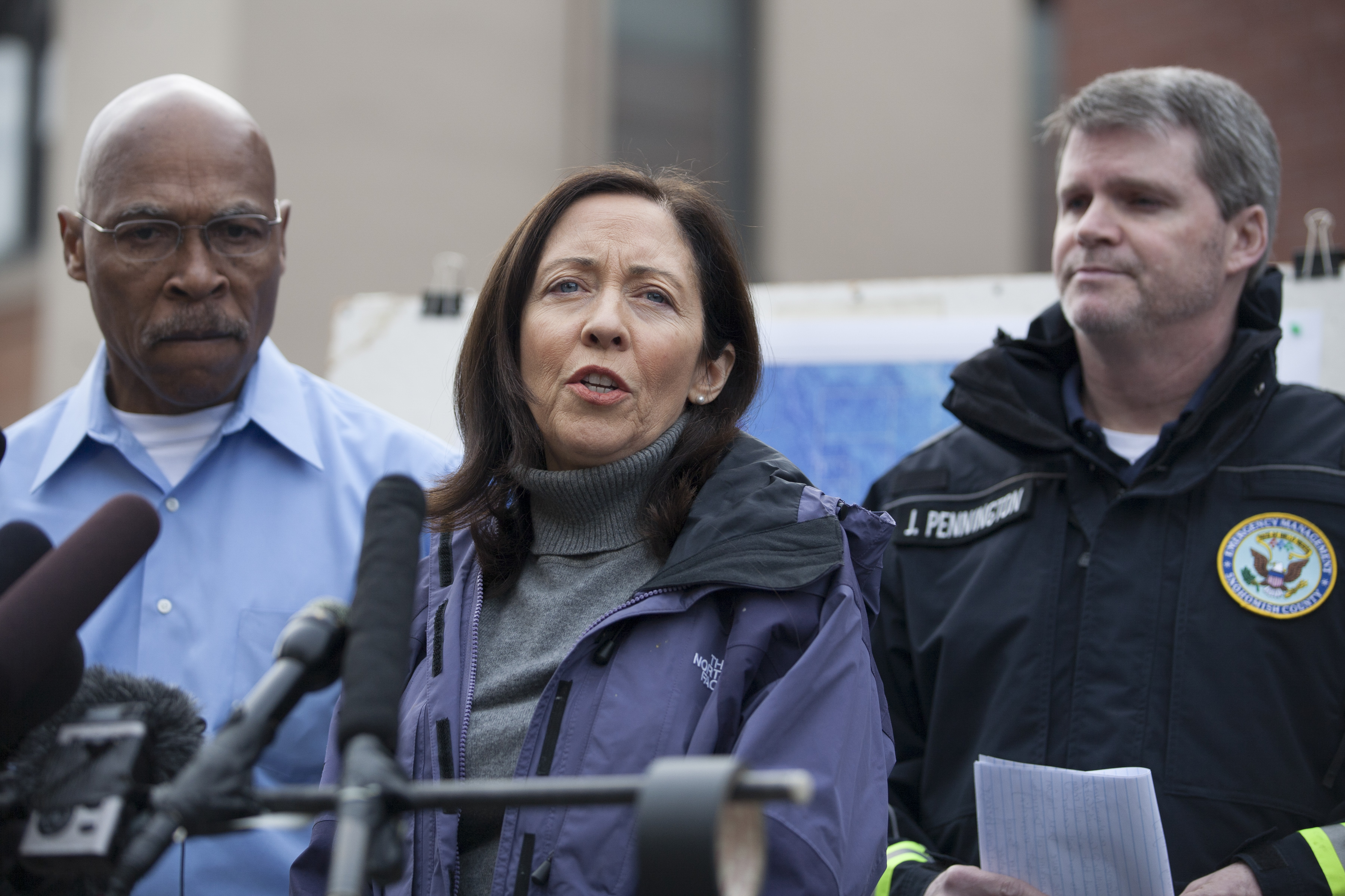 Sen. Maria Cantwell (D-Wash.) speaks to reporters about the huge landslide that roared down from a rain-saturated mountain slope in Oso, in Arlington, Wash., March 24, 2014. The number of individuals unaccounted for after Saturday's deadly mudslide has risen from 18 to 108. (Matthew Ryan Williams/The New York Times)