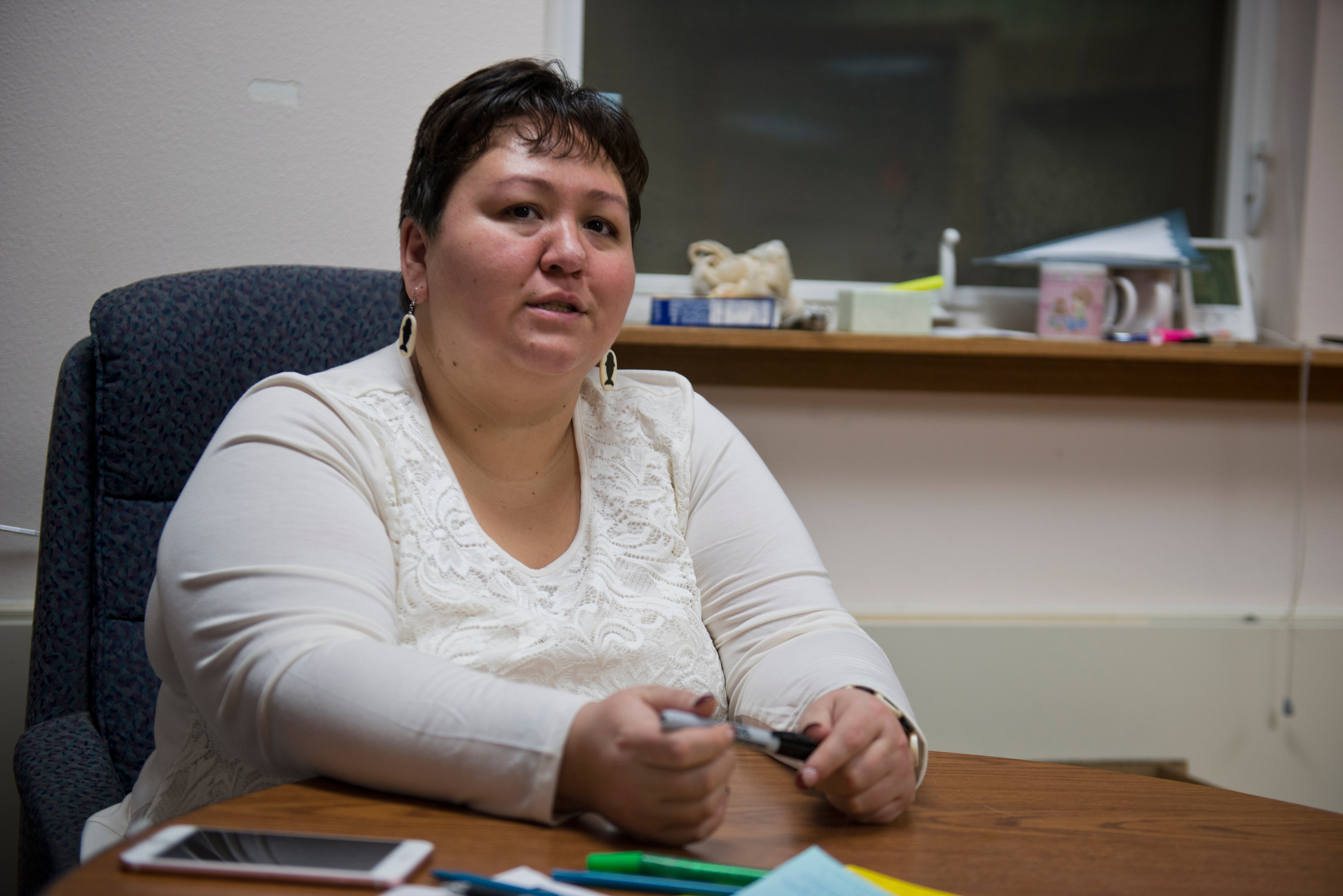"""Fannie Suvlu, mayor of Utqiaġvik, said the recent name change of the city has been divisive among residents. """"I have no preference, whether I'm in Barrow or whether I'm in Utqiaġvik. I'm in the same place,"""" she said. Voters approved changing the name of the city of Barrow to Utqiagvik in October, a change which went into effect on December 1. In Alaska's northernmost city, however, residents remain divided about whether they name should've changed at all, whether the process was hurried, and whether the Utqiagvik is even the proper Inupiaq place name. Photographed on Monday, December 12, 2016. (Marc Lester / Alaska Dispatch News)"""