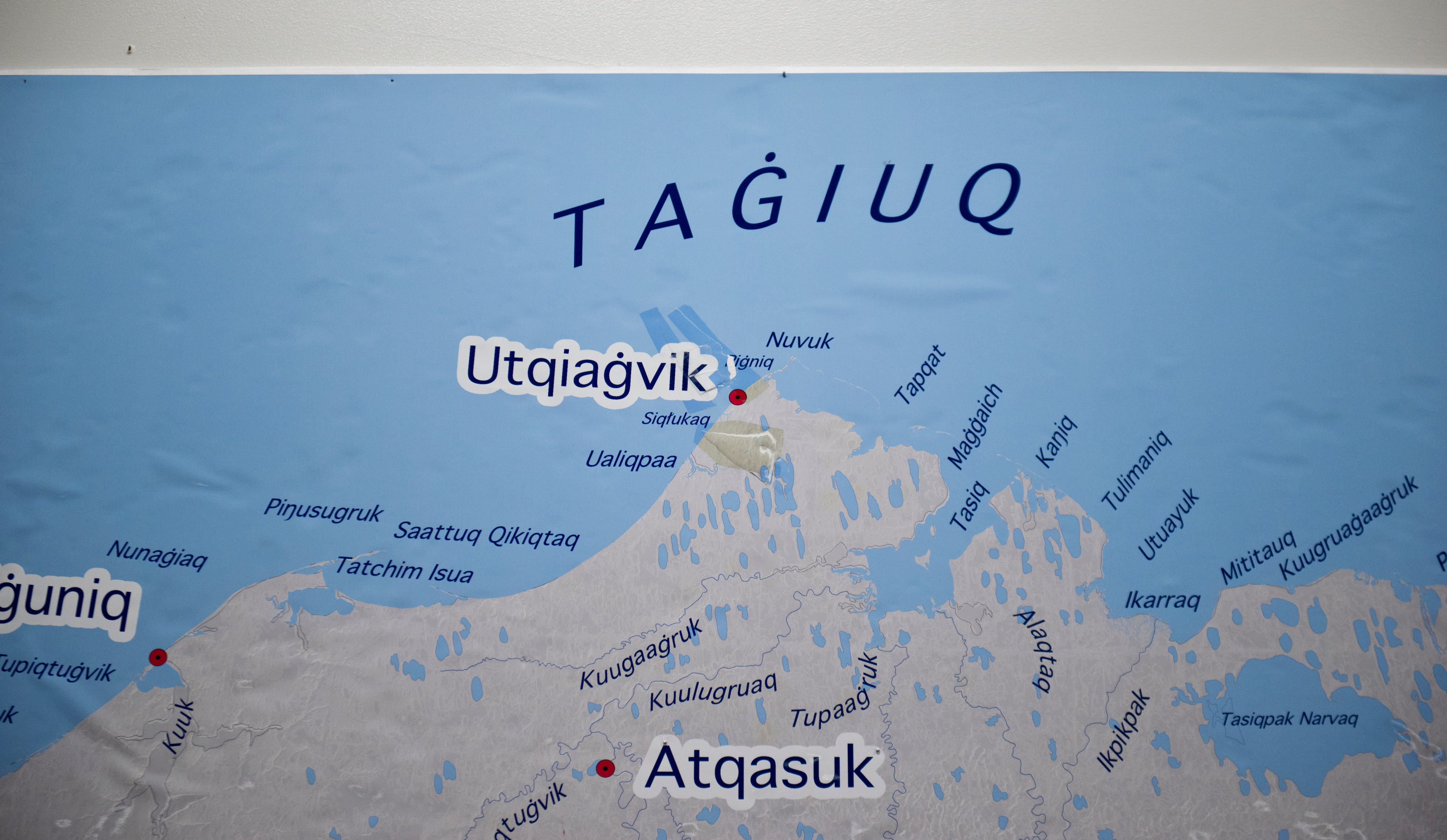 A large map showing Inupiaq language place names shows the city of Barrow as Utqiagvik at the Inupiat Heritage Center. Voters approved changing the name of the city of Barrow to Utqiaġvik in October, a change which went into effect on December 1. In Alaska's northernmost city, however, residents remain divided about whether they name should've changed at all, whether the process was hurried, and whether the Utqiagvik is even the proper Inupiaq place name. Photographed on Monday, December 12, 2016. (Marc Lester / Alaska Dispatch News)
