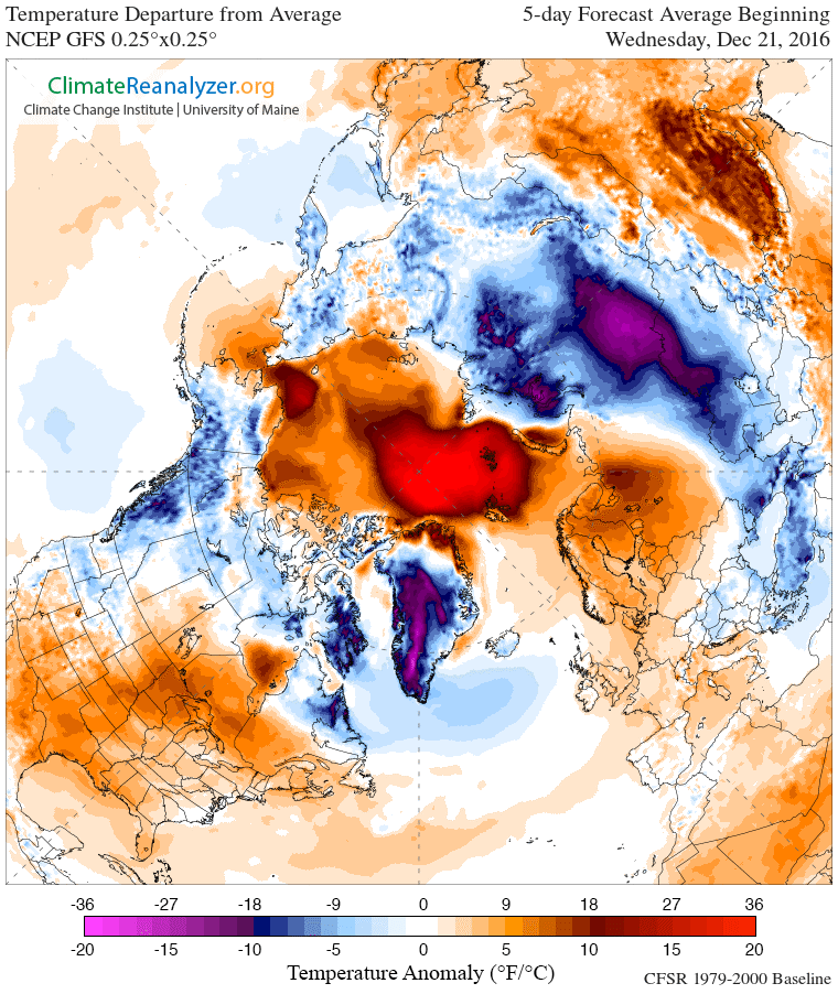 This map depicts the difference in 5-day temperatures for Dec. 21 from long term averages, revealing an abnormally warm Arctic. (ClimateReanalyzer.org / Climate Change Institute at the University of Maine)
