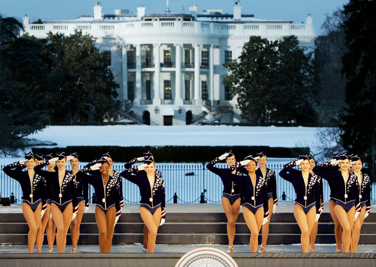 The Radio City Rockettes performed at inaugural festivities for President George W. Bush in 2005. (REUTERS / Mike Segar)