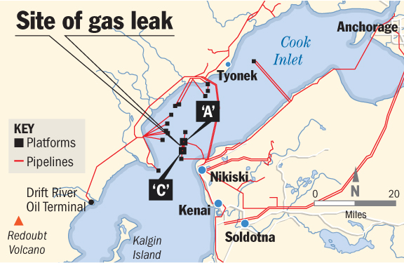Gas leak map cook inlet hilcorp