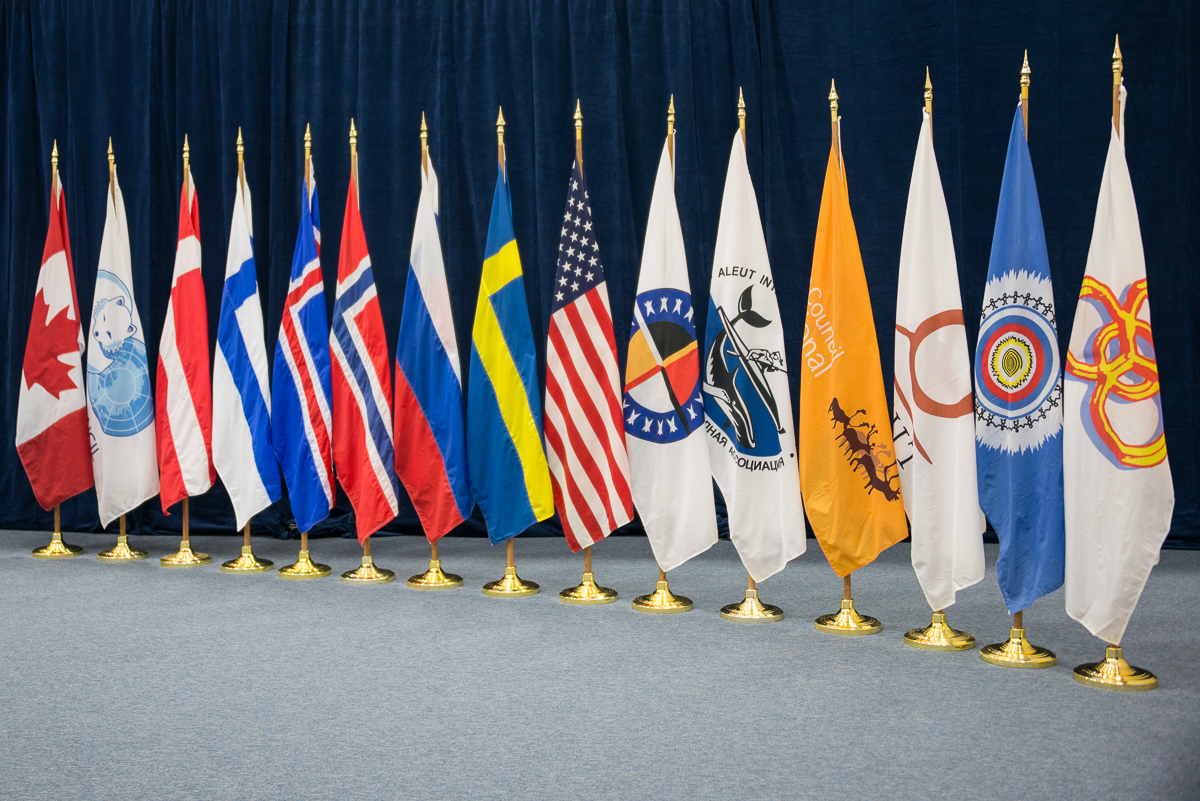 The flags of the Arctic Council Member States and Permanent Participants (Indigenous peoples' organizations). (Arctic Council Secretariat / Linnea Nordström)